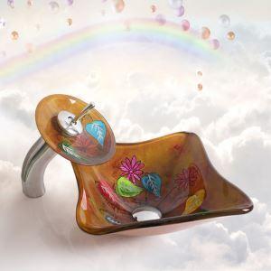 洗面ボウル&蛇口セット 手洗い鉢 洗面器 強化ガラス製 排水金具付 オシャレ 船型 可愛 HAM154