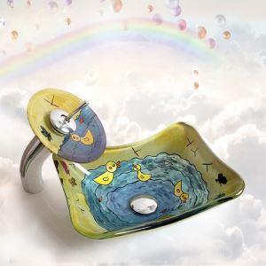洗面ボウル&蛇口セット 手洗い鉢 洗面器 強化ガラス製 排水金具付 オシャレ 船型 可愛 HAM1542