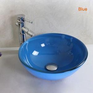 洗面ボール 手洗い鉢 洗面器 手洗器 洗面ボウル 洗面台 ガラス 排水金具付 オシャレ 7色 D35cm VT3112