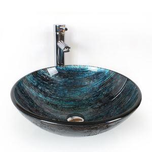 洗面ボール 手洗鉢 洗面器 強化ガラス製 排水金具付 オシャレ HAM105