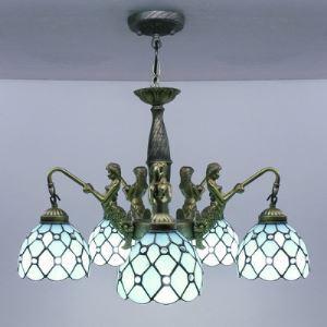 シャンデリア ステンドグラスランプ リビング照明 ダイニング照明 マーメイド型 5灯 BEH4258