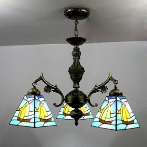 シャンデリア ステンドグラスランプ リビング照明 吹き抜け照明 船柄 3灯 BEH4022