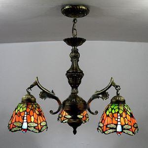 シャンデリア ステンドグラスランプ リビング照明 ダイニング照明 蝶柄 3灯 BEH3395