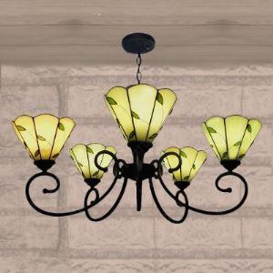 シャンデリア ステンドグラスランプ リビング照明 ダイニング照明 葉柄 5灯 BEH3188