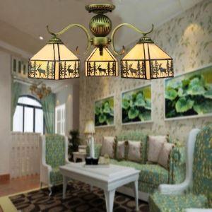シャンデリア ステンドグラスランプ ティファニーライト 照明器具 リビング照明 吹き抜け照明 3灯 BEH4015