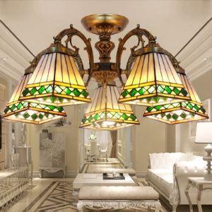 シャンデリア ステンドグラスランプ ティファニーライト リビング照明 ダイニング照明 照明器具 5灯 BEH3769