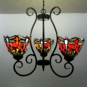 シャンデリア ステンドグラスランプ リビング照明 吹き抜け照明 蝶柄 3灯 BEH3392