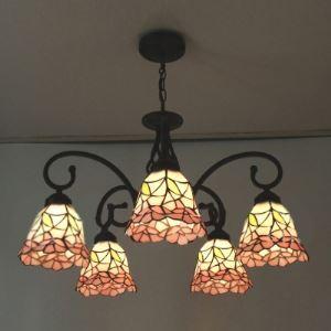 シャンデリア ステンドグラスランプ リビング照明 ダイニング照明 ローズ柄 5灯 BEH3218