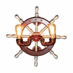 壁掛けライト ウォールランプ ブラケット 照明器具 工業風照明 ロフト 店舗 玄関 舵型 2灯 LB50289