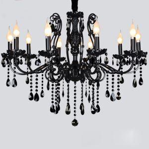シャンデリア クリスタル リビング照明 ダイニング照明 寝室照明 黒色 豪華 10灯 LED電球対応