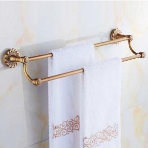 浴室二重タオルバー タオル掛け タオル収納 壁掛けハンガー バスアクセサリー アンティーク調 ブラス色 JWA003