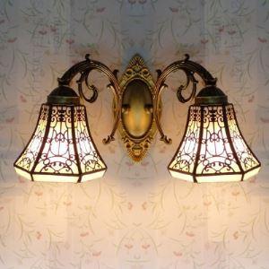 壁掛けライト ステンドグラスランプ ウォールランプ 照明器具 ロッジ型 2灯 BEH403965
