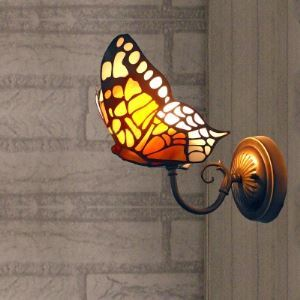 壁掛け照明 ステンドグラスランプ ブラケットライト ウォールランプ 照明器具 蝶型 1灯 BEH403560