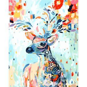 【大人の塗り絵】数字絵画 DIY手描き絵画 塗り絵 ハンドメイド油絵 絵具セット 彩色鹿 40*50