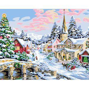 【大人の塗り絵】数字絵画 DIY手描き絵画 塗り絵 ハンドメイド油絵 絵具セット 雪景色A 40*50