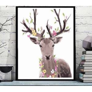 【大人の塗り絵】数字絵画 DIY手描き絵画 塗り絵 ハンドメイド油絵 絵具セット 鹿&花C 40*50