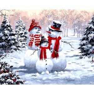 【大人の塗り絵】数字絵画 DIY手描き絵画 塗り絵 ハンドメイド油絵 絵具セット 雪だるまD 40*50