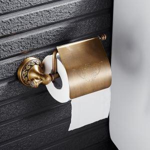 トイレットペーパーホルダー 紙巻器 トイレ用品 ペーパー収納 バスアクセサリー ブラス色 真鍮製 アンティーク