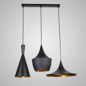 ペンダントライト 天井照明 照明器具 アイアン照明 食卓照明 ロフト工業風 ヴィンテージ 黒色&方形 3灯