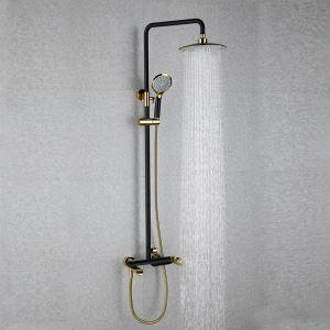 浴室シャワー水栓 レインシャワーシステム バス水栓 ヘッドシャワー+ハンドシャワー+蛇口 混合栓 黒色&Ti-PVD 010