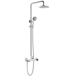 浴室シャワー水栓 レインシャワーシステム バス水栓 ヘッドシャワー+ハンドシャワー+蛇口 混合栓 クロム 012