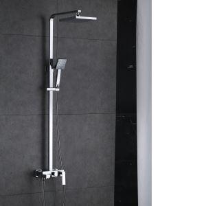 浴室シャワー水栓 レインシャワーシステム バス水栓 ヘッドシャワー+ハンドシャワー+蛇口 混合栓 クロム 014