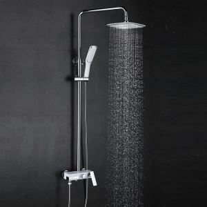 浴室シャワー水栓 レインシャワーシステム バス水栓 ヘッドシャワー+ハンドシャワー+蛇口 混合栓 クロム 015