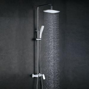 浴室シャワー水栓 レインシャワーシステム バス水栓 ヘッドシャワー+ハンドシャワー+蛇口 混合栓 クロム 018