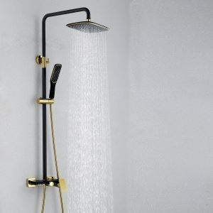 浴室シャワー水栓 レインシャワーシステム バス水栓 ヘッドシャワー+ハンドシャワー+蛇口 混合栓 黒色&Ti-PVD 019