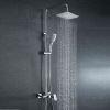 浴室シャワー水栓 レインシャワーシステム バス水栓 ヘッドシャワー+ハンドシャワー+蛇口 混合栓 クロム 020