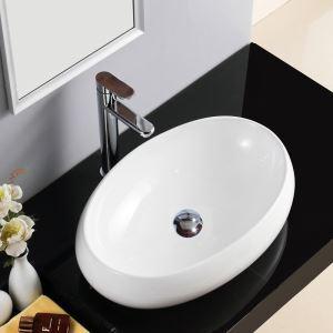 手洗い鉢 洗面ボウル 手洗器 洗面ボール 洗面台 陶器 楕円型 置き型 排水栓&排水トラップ付 48cm