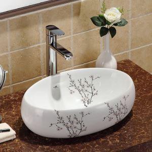 洗面ボウル 手洗い鉢 洗面ボール 手洗器 洗面台 陶器 梅花柄 楕円型 置き型 排水栓&排水トラップ付 48cm