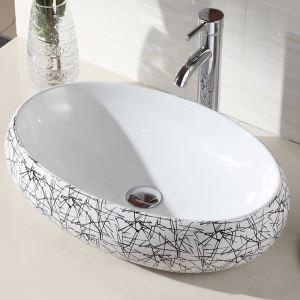 洗面ボウル 手洗い鉢 洗面ボール 手洗器 陶器 幾何柄 排水栓&排水トラップ付 48cm