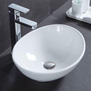 手洗い鉢 洗面ボウル 手洗器 洗面ボール 陶器 丸型 置き型 排水栓&排水トラップ付 41cm 翌日発送