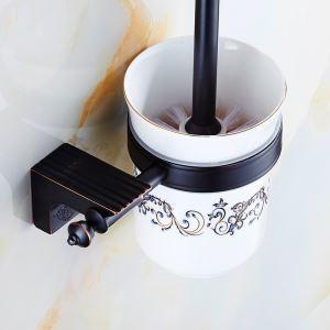 トイレブラシホルダー トイレ用品 トイレブラシ&ポット付き 真鍮製 アンティーク調 ORB