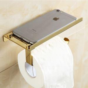 トイレットペーパーホルダー 紙巻器 収納棚付き トイレ用品 真鍮製 Ti-PVD/ブラス色