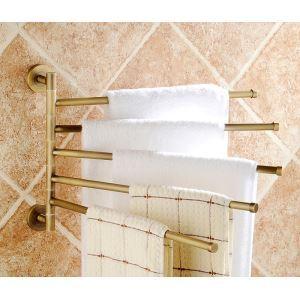 タオル掛け 浴室五重タオルバー 壁掛けハンガー タオル掛け バスアクセサリー ブラス色 回転可能 JWA042