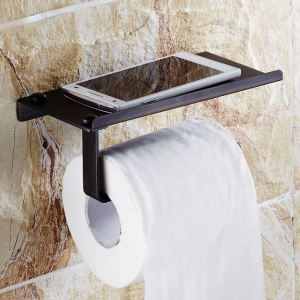 トイレットペーパーホルダー 紙巻器 収納棚付き トイレ用品 真鍮製 携帯電話置き 黒色