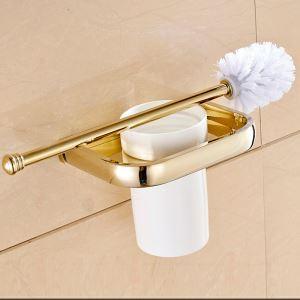 トイレブラシホルダー トイレ用品 トイレブラシ&ポット付き 真鍮製 Ti-PVD