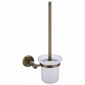 トイレブラシホルダー トイレ用品 トイレブラシ&ポット付き 真鍮製 アンティーク調