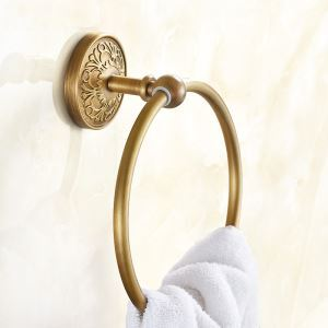 タオル掛け 浴室タオルリング タオル収納 バスアクセサリー アンティーク調 ブラス色 SWA031