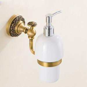 浴室ソープディスペンサーホルダー 壁掛けソープボトル 洗面所用品 真鍮製 ブロンズ