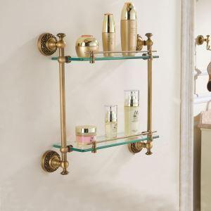 シェルフ 化粧棚 ガラス棚 浴室棚 バス用品 浴室収納 ハンガー付き 2段 真鍮製 ブロンズ