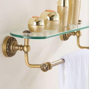 シェルフ 化粧棚 ガラス棚 浴室棚 バス用品 浴室収納 ハンガー付き 真鍮製 ブロンズ