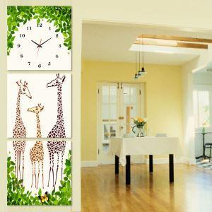 壁掛け時計 壁絵画時計 静音時計 キャンバス時計 壁飾り 3枚パネル キリン K246