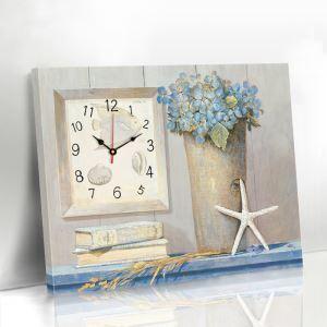 壁掛け時計 絵画時計 静音時計 壁飾り おしゃれ 1枚パネル 花