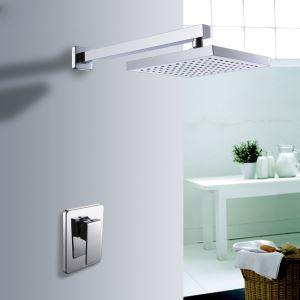 埋込形シャワー水栓 ヘッドシャワー バス蛇口 レインシャワーヘッド 混合栓 クロム(0609-1381200)
