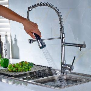 キッチン蛇口 台所蛇口 シンク蛇口 冷熱混合水栓 2吐水口 クロム
