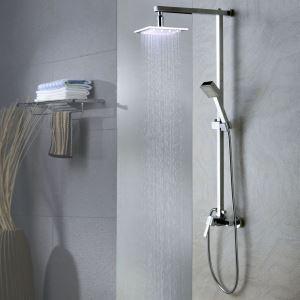 LEDレインシャワーシステム LEDヘッドシャワー+LEDハンドシャワー クロム