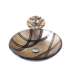 洗面ボウル&蛇口セット 手洗い鉢 洗面器 強化ガラス製 排水金具付 オシャレ 茶色 SN764